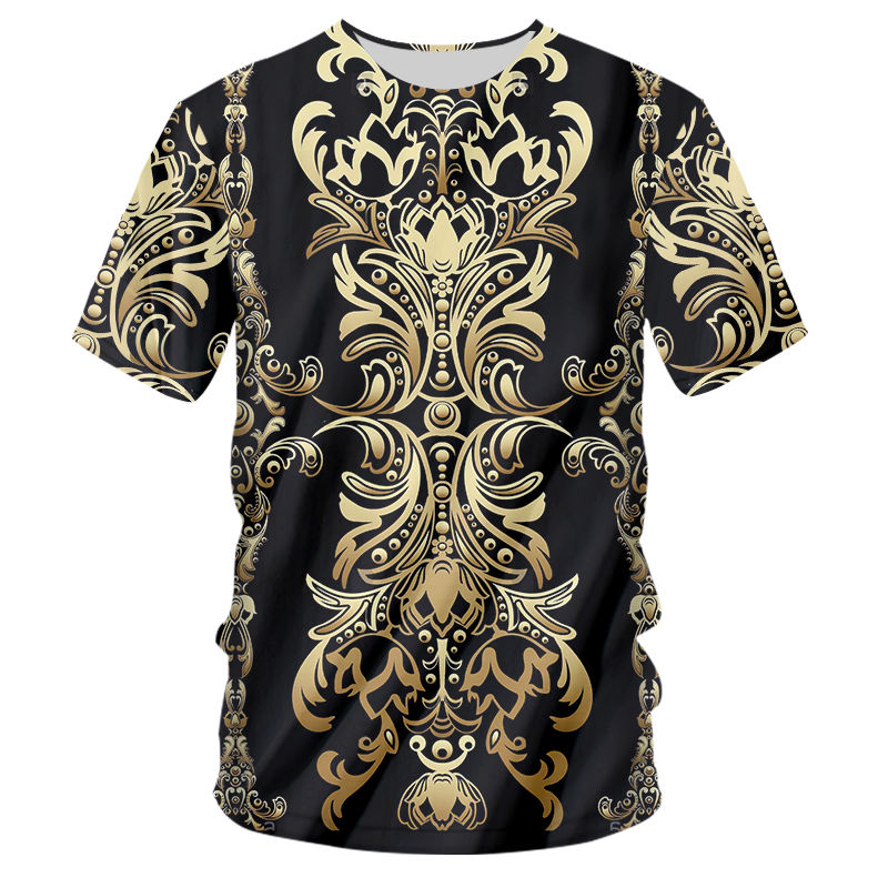 H8936fd0e85f5453b800d91dd242df98fK - 3d Baroque Palace Gold Flower T-shirt