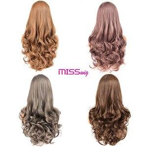 Image 5 - Miss wig długie faliste peruki dla czarnych kobiet afroamerykanin syntetyczne włosy różowe brązowe peruki z grzywką peruka termoodporna