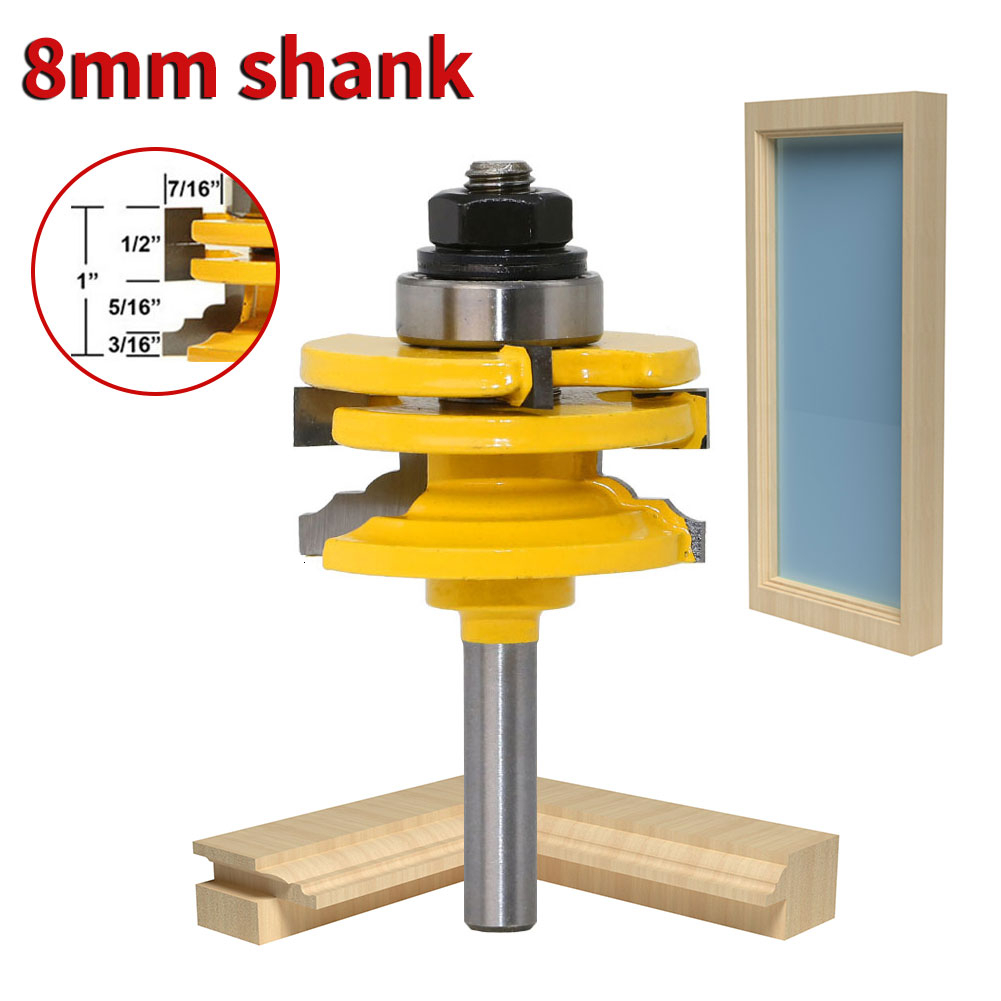 1Pc 8mm Shank Glass Door Rail & Stile Reversible Router Bit Wood Engraving Cutting Tool Woodworking Trimming Router Bit