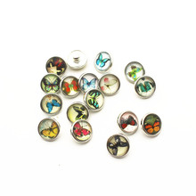 New Arrival 20pcs/lot butterfly 12mm Glass Snap Buttons Fit DIY Bracelet Button Charms Jewelry