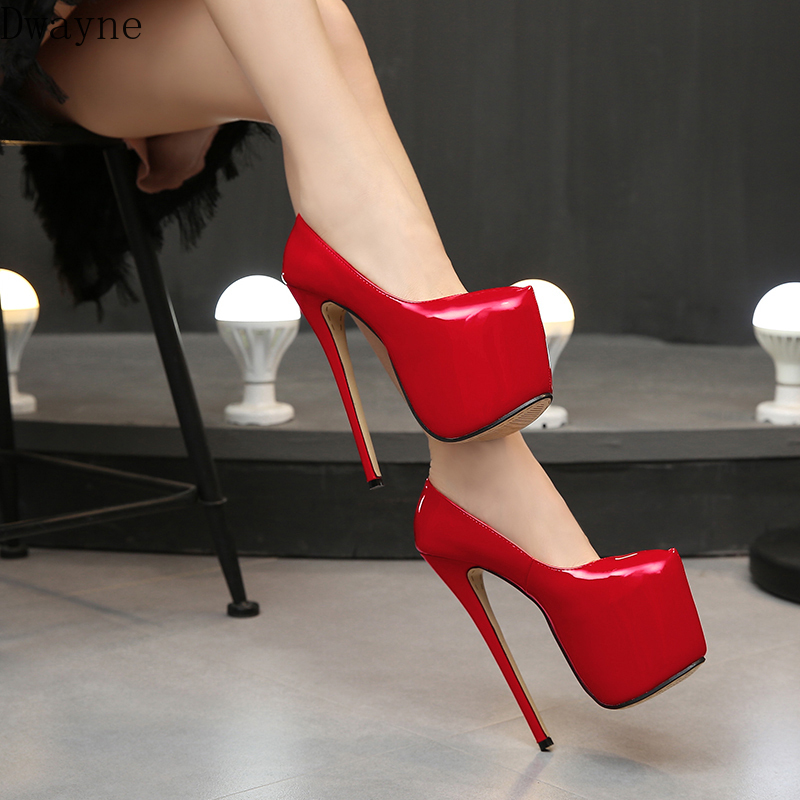 Europe And America Sexy Model Catwalk High Heels 18 Cm Super High Heel Single Shoes Big Size Womens Shoes Fashion Pumps 42,43,44