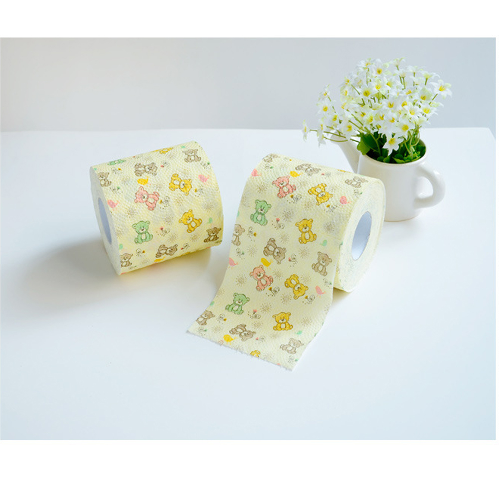 1roll 3-layers Cute Cartoon Bear Printing Roll Paper Towel Core Bath Toilet Roll Paper Tissue Household Toilet Paper
