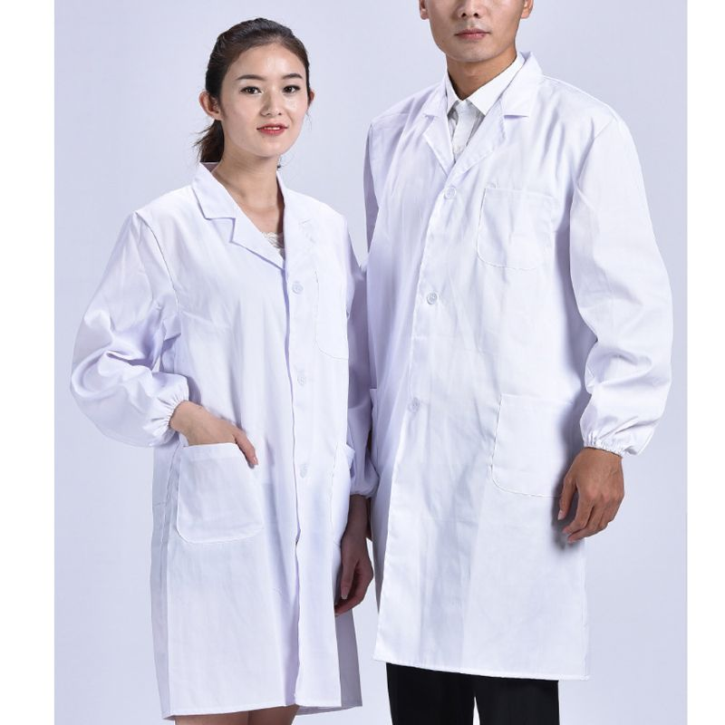 Unisex Long Sleeve White Lab Coat Lapel Collar Button Down Medical Doctor Blouse Plus Size S-3XL