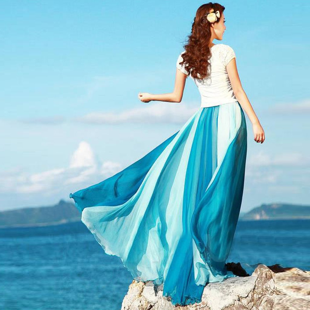 2020 Spring Summer Chiffon Skirts Womens Elastic High Waist Flowing Skirt Long Bohemian Skirt Female Jupe Longue L#