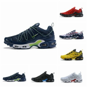 The latest men's shoes TN for 2020 are black, blue and green spliced air cushion running shoes with larger sizes of 40-46