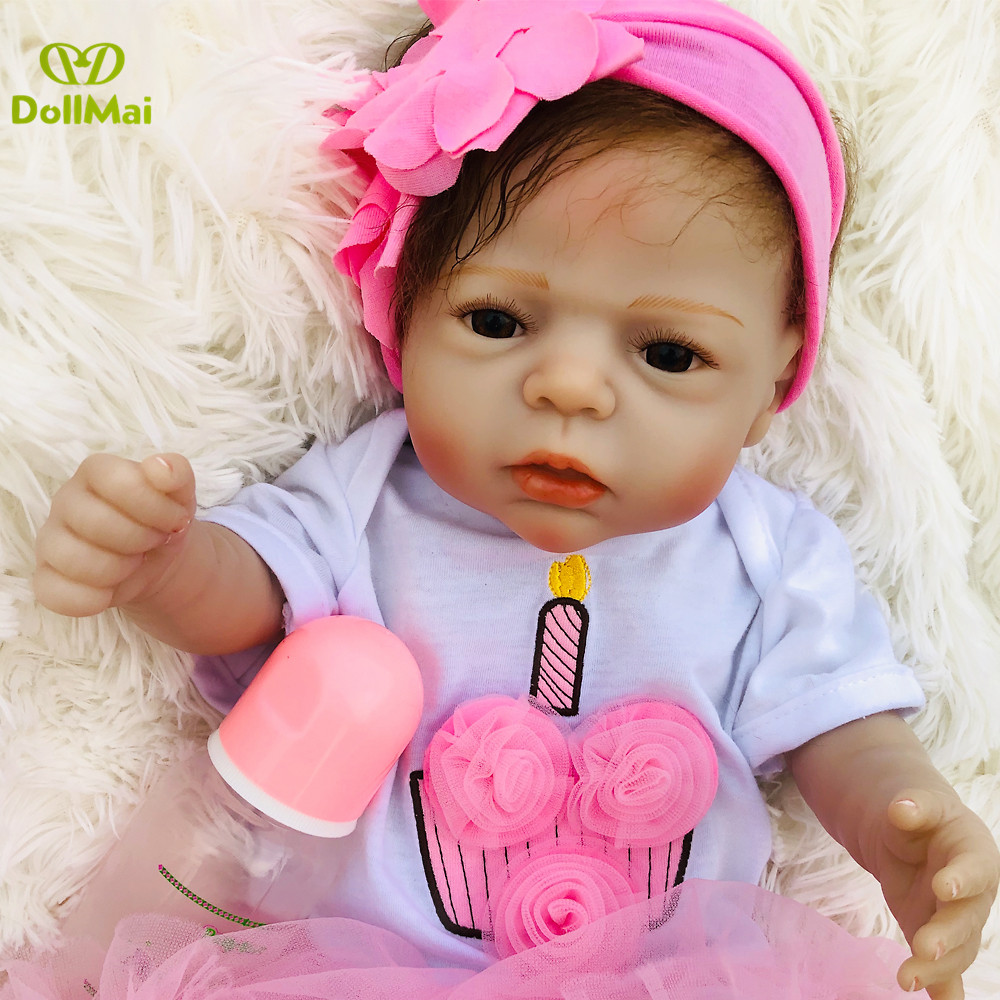 22 Inch Bebe Doll Reborn baby Girl real Full Silicone Vinyl reborn dolls alive newborn Baby Toy Doll For Children's Day Gifts