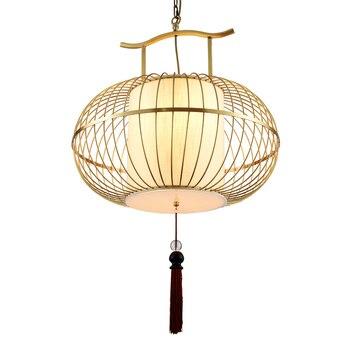 Chinesischen Stil Anhänger Lampen Vogelkäfig Eisen LED Anhänger Lichter Innen Beleuchtung Hanglamp Bambus Lampe Hängen Leuchte Lampara
