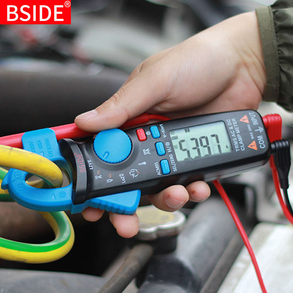 Mini Digital Clamp Meters BSIDE ACM Series True RMS DC AC Current Voltage Ohm Temp Capacitance Hz NCV Tester Ammeter Multimeter