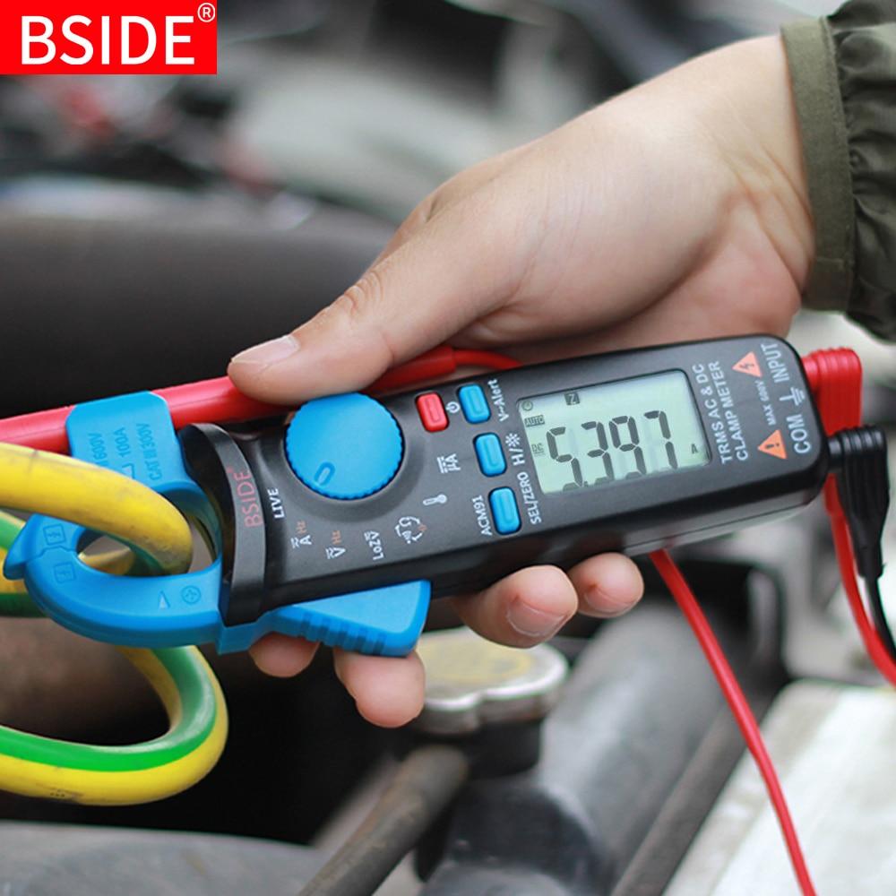Mini Digital Clamp Meters BSIDE ACM Series True RMS DC AC Current Voltage Ohm Temp Capacitance Hz NCV Tester Ammeter Multimeter