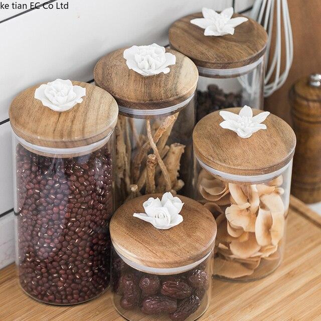 北欧クリエイティブセラミック花コーヒー豆キャンディー密封された瓶装飾ガラス瓶キッチン大収納瓶木製蓋