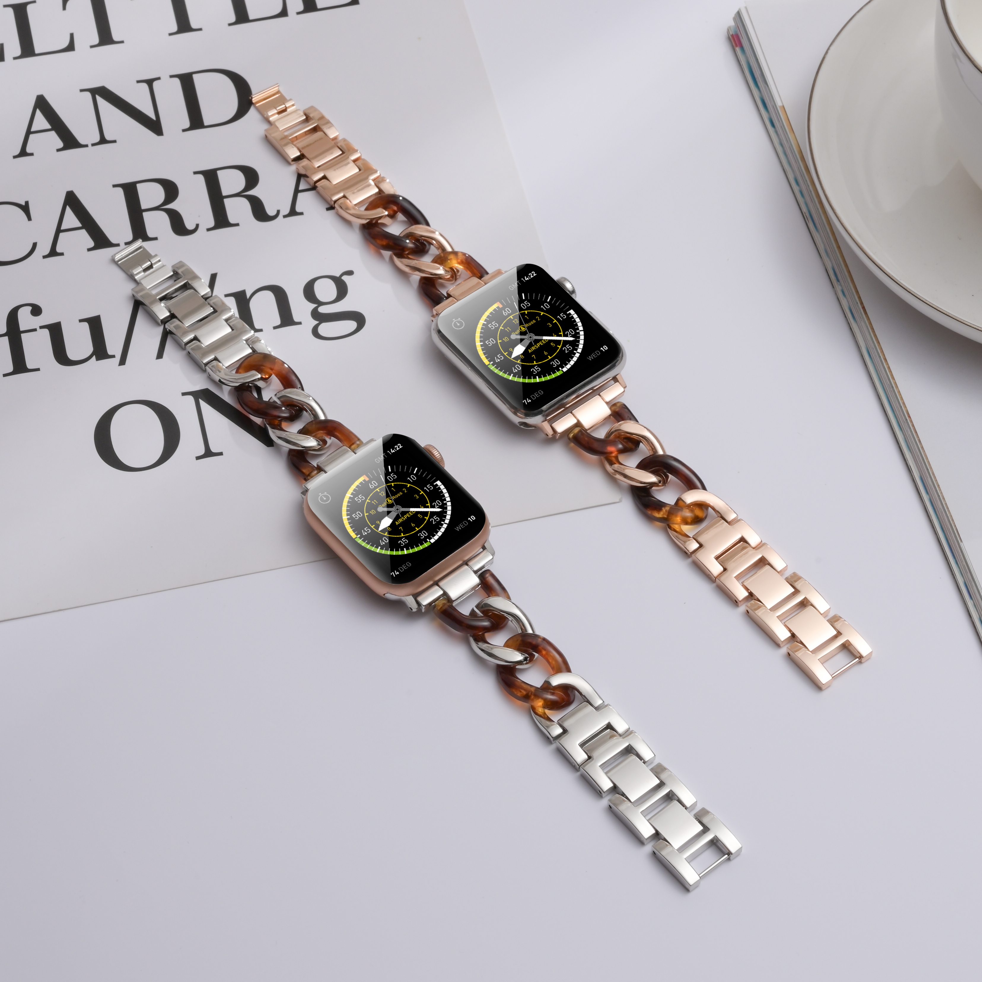 Resin Watch strap for apple watch band 5 4 42mm 38mm chain  loop wirst steel for iwatch series 5 4 3/2/1 watchband 44mm 40mm