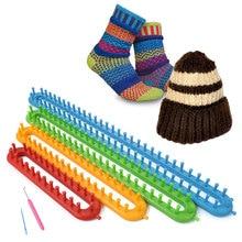 Фото - Long Shape Loom Kit 4 Size Weaving Knitting Scarf Peg Board Hook Set Needles Loom Cape Plastic Tool DIY Craft Shawl Muffler the loom пальто