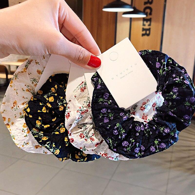 Women Elegant Print Flower Elastic Hair Bands Ponytail Holder Sweet Scrunchie Rubber Bands Hair Holder Fashion Hair Accessories