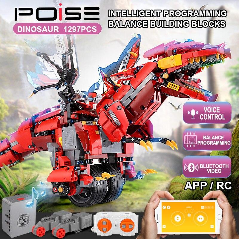 Mould King High-Tech RC Balance Dinosaur Dragon Knight Roadster Electric Robot Building Blocks Kids DIY Bricks Toy Gifts