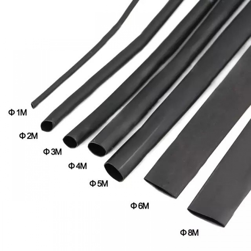 8 Meter/set Heat Shrink Tube Kit 1/2/3/4/5/6/7/8MM 2:1 Black Heat Shrink Tubing Shrinkable Sleeving Wrap DIY Connector Wire Kit
