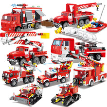 City Firefighter Fire Bridge Engine Ladder Truck Sets Building Blocks Model Bricks Kits Creator Rescue Helicopter Car Vehicle