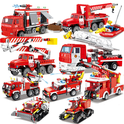 City Firefighter Fire Ladder Truck Bridge Engine Sets Model Bricks Kits Creator Rescue Helicopter Car vehicle Comaptible legoed