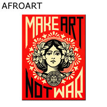HD Art Print Make Art Not War Graffiti Canvas Painting Poster Wall Pictures For Room Decoration Home Decor No Frame(China)