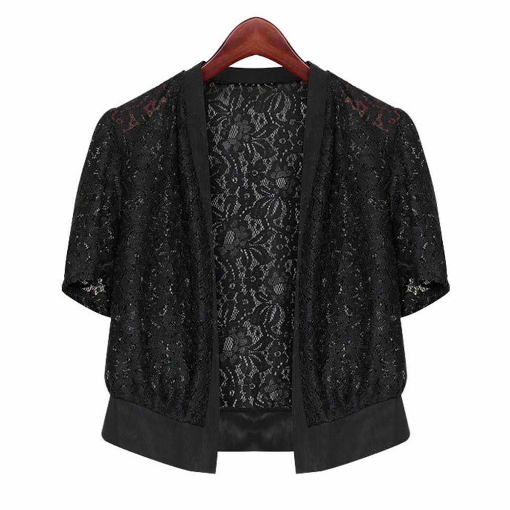 Áo sơ mi nữ áo khoác cardigan kimono Đen Trắng Phối Ren Chân Openwork cho Nữ Sheer Nhún Vai Hở Mặt Trước Crop Cardigan Áo blusas