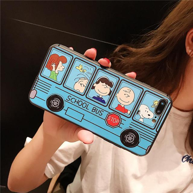 Hot Cartoon Peanut comic School Bus Cute Dog Phone Case