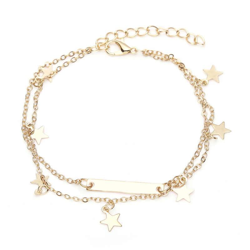 2019 новые Bohamia женские браслеты для щиколотки звезда кулон золото/серебро цвет украшение на ногу браслет-цепочка на лодыжку энкельбандjes sieraden