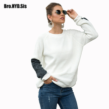 Casual Office Lady Women Sweater Spring New Crew Neck Knitted Pullover Loose Long Sleeve Color Block Patchwork Girls Female Tops crew neck color block panel rib design sweater