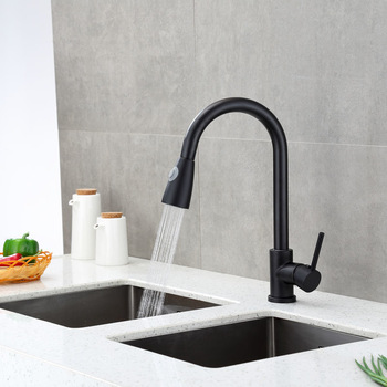 Kitchen Faucets Silver Black Single Handle Pull Out Kitchen Tap Single Hole Handle Swivel 360 Degree Water Mixer Tap Mixer Tap kitchen faucets silver single handle pull out kitchen sink tap single hole handle swivel 360 degree rotation water mixer tap