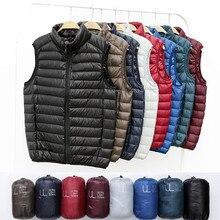 Зимний мужской жилет на утином пуху, Сверхлегкий жилет без рукавов, куртка, модный мужской Свободный жилет с воротником-стойкой, большой размер