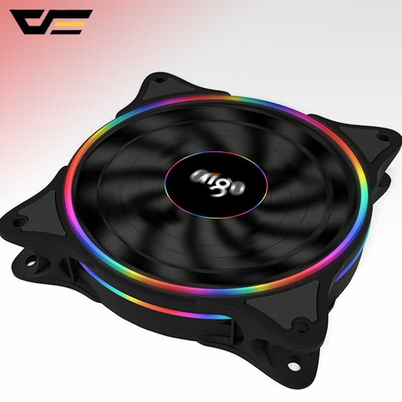 Aigo LED Case Fan 120 Mm Penggemar Diam Bantalan Lengan 12V 3pin + 4pin PC Desktop Fan Komputer Pendingin cooler Pendingin Radiator