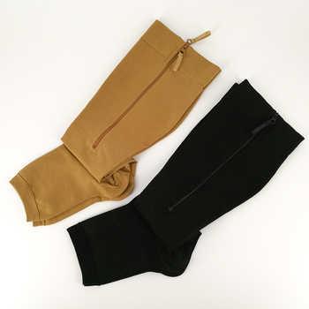YISHENG Medical Compression Socks Zipper Open Toe 20-30mmHg Toeless Nurse Zip Socks with Zipper Easy on Off