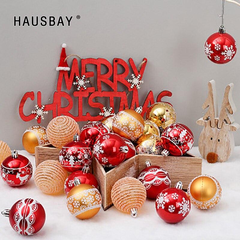 Christmas Decoration Balls 24Pcs/Set 6cm Gold Red Drawing Tree Hanging Pendant Ornaments Home decor D078