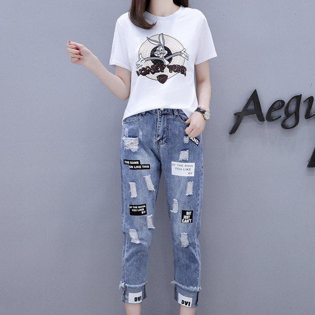 2021 Summer 2 Pieces Jeans Suits Women  Printing Hot Drilling T-Shirts + Calf-Length Denim Ripped Pants Sets Tracksuit Set 1