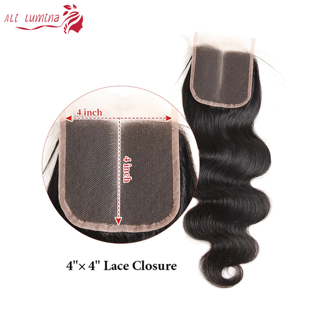 Body Wave Hair Bundles With Lace Closure Natural Color 100%   Bundles  Hair   5
