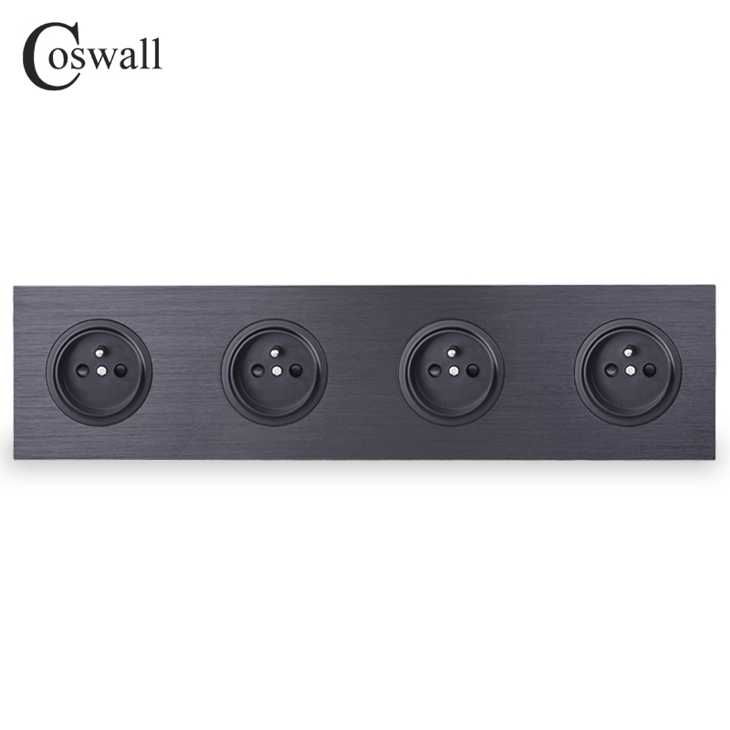 Coswall Black Aluminum Panel 16A Quadruple French Standard Wall Power Socket 4 Gang Outlet Grounded With Child Protective Lock