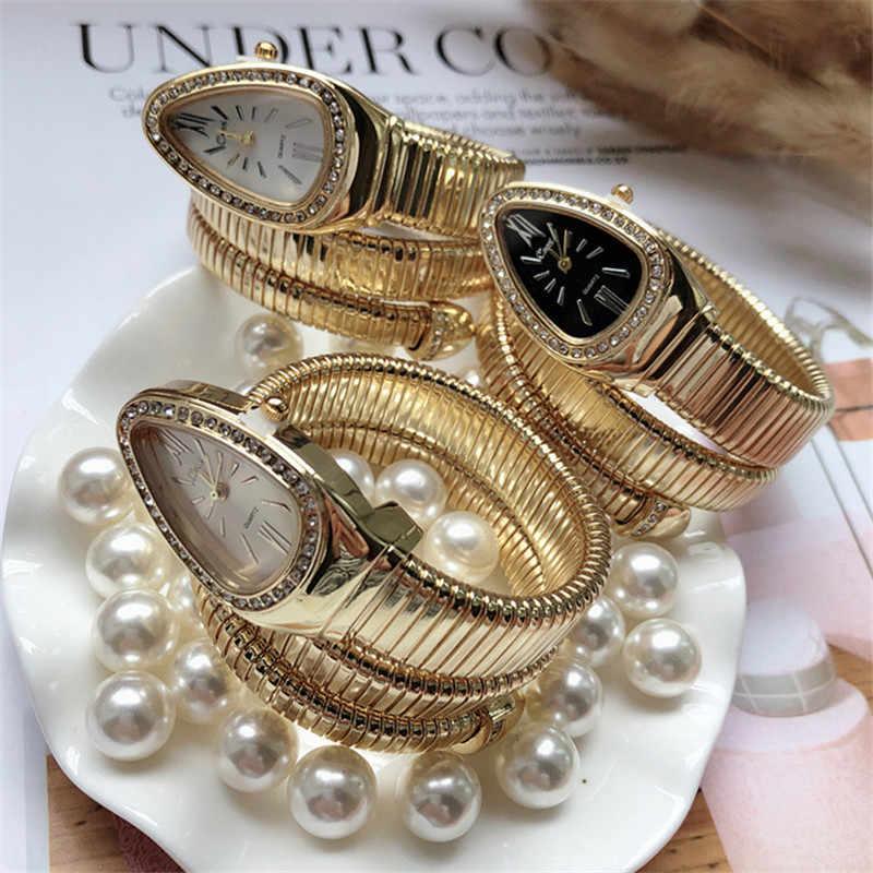 Serin yılan bileklik saatler kadın moda sonsuzluk bilekliği izle Vogue kızlar marka kuvars saat Religios Reloj Montre femme NW404