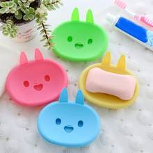 Lovely Cartoon Rabbit Bathroom Soap Dish Box Double Layer Draining Soap Holder Bathroom Accessories(China)