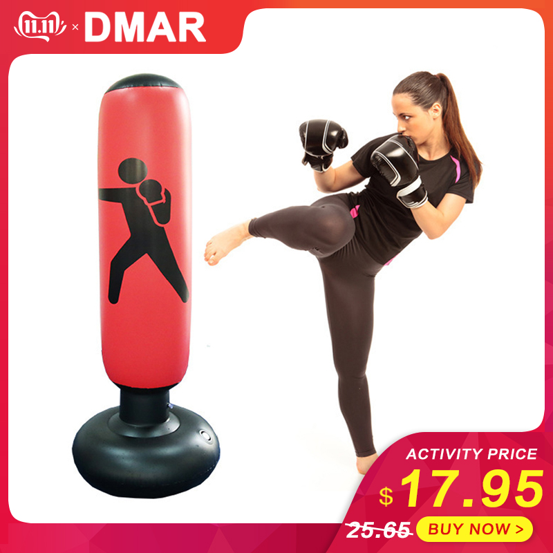DMAR 160cm Boxing Punching Bag Inflatable Free-Stand Tumbler Muay Thai Training Pressure Relief Back Sandbag With Air Pump