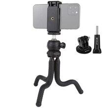 PULUZ Mini Octopus Treppiede Flessibile Holder & Ball Head & Morsetto Telefono + Treppiede Adattatore di Montaggio e Vite Lunga per fotocamere REFLEX/GoPro/Cellulare