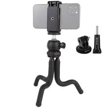 Puluz mini polvo flexível tripé titular & bola cabeça & telefone braçadeira + tripé adaptador de montagem & parafuso longo para câmeras slr/gopro/celular