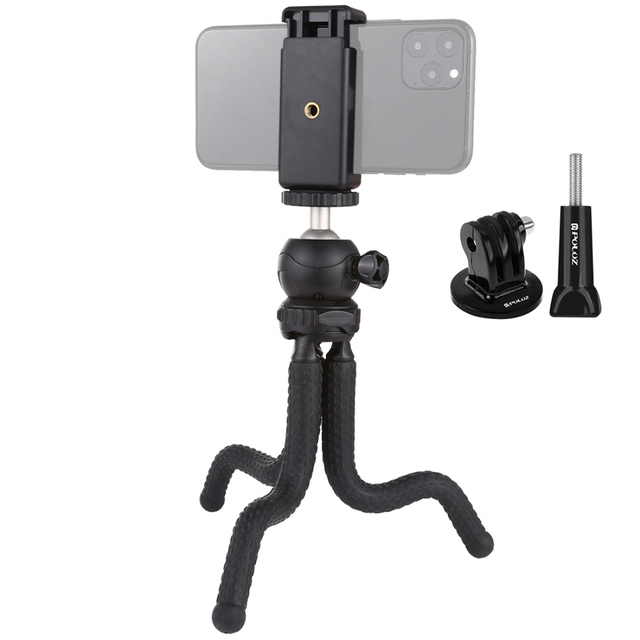 Puluzミニタコ柔軟な三脚ホルダー & ボールヘッド & 電話クランプ + 三脚マウントアダプタ & ロングネジ一眼レフカメラ/移動プロ/携帯電話