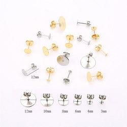 20/50pcs Stainless Steel Earring Post Finding Blank Base 10mm 12mm Cabochon Base Settings Earring Back Stopper Jewelry Making