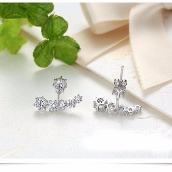 925 Sterling Silver Stud Earrings For Women Wedding Engagement Fashion Jewelry Trendy Style Sparkling Cubic Zirconia Wholesale 1
