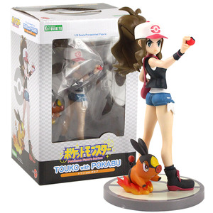 Image 3 - 20cm Anime Trainer Action Figure Gary Oak Lyra Selene Touko Mei Eevee Chikorita Rowlet Tepig Snivy ARTFX Model Toy Gift for Kid