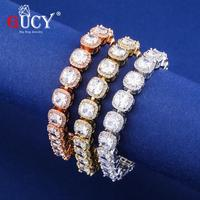 GUCY Square Cubic Zirconia Tennis Chains Top Quality HipHop Bracelet Luxury Full Iced Out CZ Jewelry For Men Women Drop Shipping