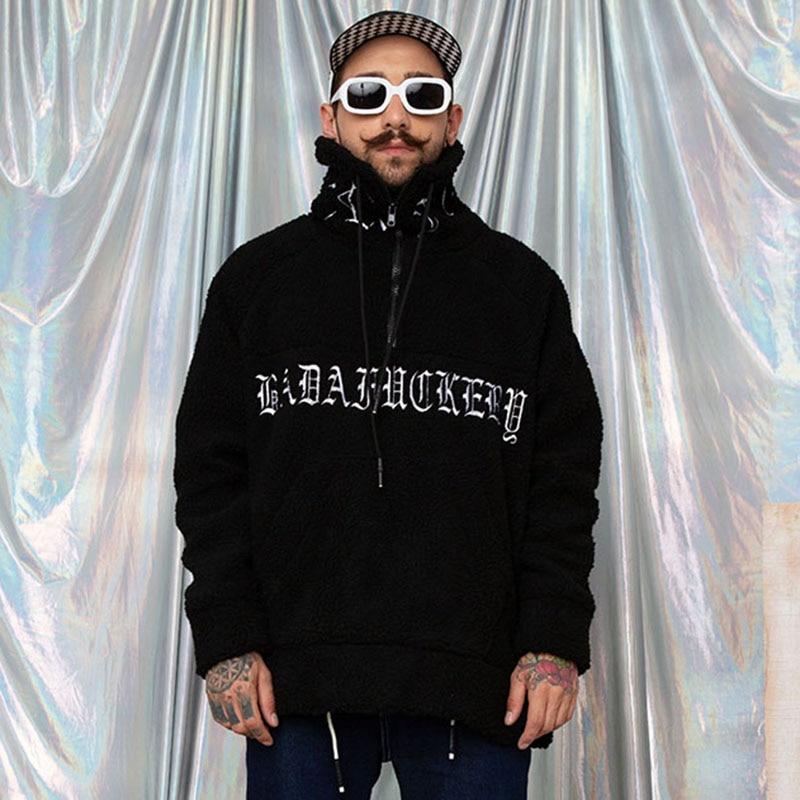 Image 3 - Hip Hop Lamb Wool Jacket Men Gothic Letter Embroidery Jackets Coat Fleece Autumn Winter 2019 Half Zip Jacket Streetwear Retro-in Jackets from Men's Clothing