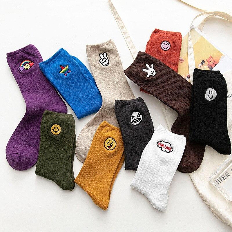 Streetwear Cartoon Embroidery Funny Socks Women With Smiling Face Japanese Korean Style Kawaii Socks Autumn For Ladies 092301