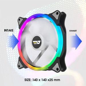 Image 2 - DarkFlash ventilateur pour PC, PC, ventilateur 140mm, rvb LED vitesse réglable, 3 broches, 5V, 4 broches, puissance IR, télécommande AURA, synchronisation, PC, refroidisseur ventilateur de refroidissement