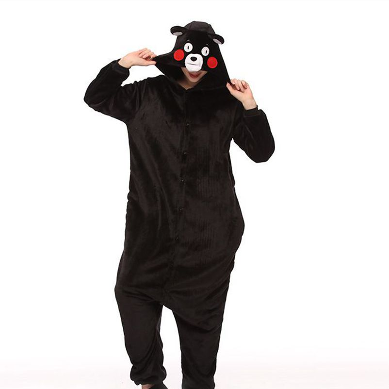 Cute Cartoon Kigurumi Kumamon Bear Pajamas Long Sleeve Hooded Onesie Adult Women Animal Halloween Christmas Sleepwear