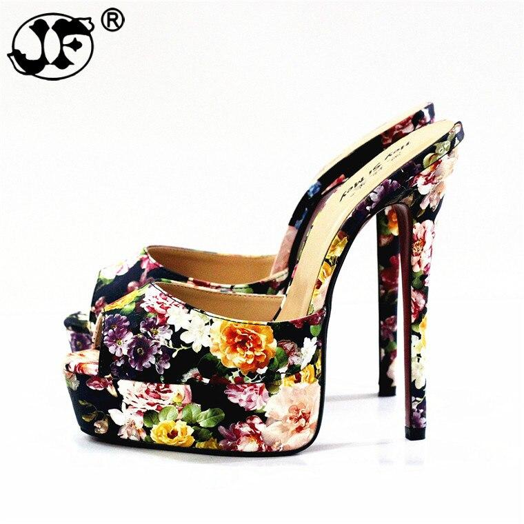 2019 Flip Flops:44 45 46 47 48 Summer Women Wedding Shoes 14cm Thin High Heels Open Toe Sexy Crossdress Sandal Evening Pumps Yuj