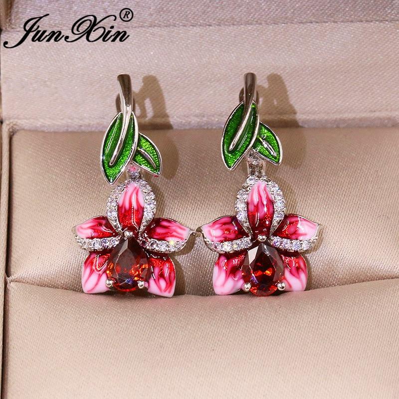 Charm Girls Cherry Flower Hoop Earrings White Gold Pear Red Crystal Stone Green Enamel Wedding Earrings Unique Jewelry